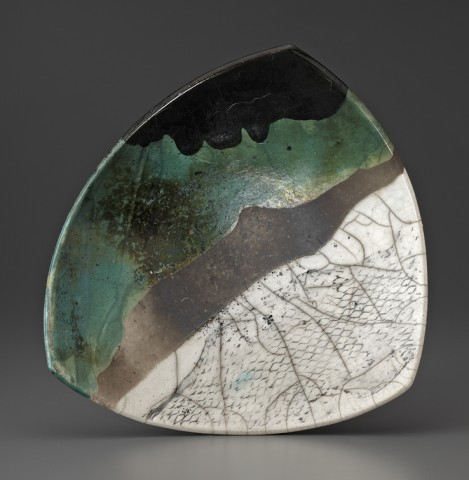 Raku Plate with Green No. 1